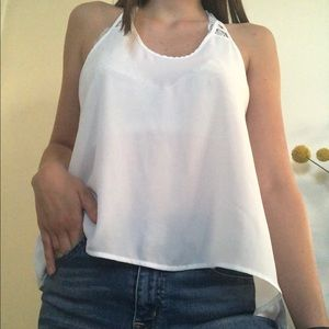Sheer white guess tank top